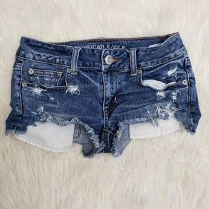 AEO Stretch Distressed Shortie Jean Shorts